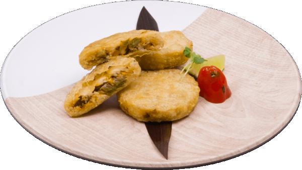 Nopales and mozarella cheese arepa1